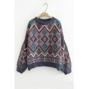 Round Neck Lantern Sleeve Geometric Pullover Sweater