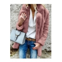 Winter Plain Notched Lapel Collar Long Sleeve Open Front Faux Fur Coat