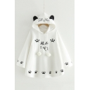 Pom Pom Embellished Japanese Paw Print Long Sleeve Loose Hooded Cape