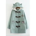 Cat Embroidered Button Front Long Sleeve Hooded Coat