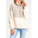 Color Block Stand Collar Long Sleeve Faux Fur Half-Zip Sweatshirt