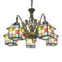 Stained Glass Lodge Designed Shade 5-Light Chandelier with Bronze Finish Mermaid Arms