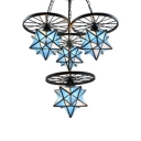 2-Tier Sky Blue Star Designed 4-Light Pendant Light Fixture with Black Wheels for Kids Room