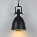 Satin Black Dome Shade Hanging Chain Pendant Light with Industrial Water Pipe Designed Lamp Socket 11''/14.5'' Wide