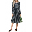 Striped Round Neck Long Sleeve Midi A-Line Dress with Pockets