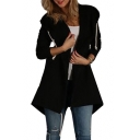 Plain Long Sleeve Fishtail Open Front Hooded Coat