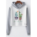 Color Block YOU AND ME Letter Cactus Print Long Sleeve Cropped Hoodie