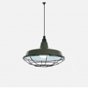 14'' W Single Light Industrial Pendant Light with Cage in Dark Green/Red Finish