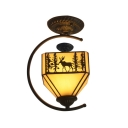 Lodge Style Deer Pattern Square Semi Flush Mount with Wrought Iron Arm, Up Lighting