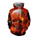 Fire Skull Print Long Sleeve Casual Hoodie