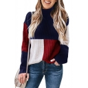 Mock Neck Color Block Long Sleeve Ribbed Pullover Sweater