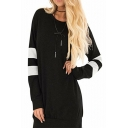 Round Neck Color Block Long Sleeve Leisure Tunic Sweatshirt