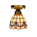 6/7-Inch Wide Tiffany Flush Mount Ceiling Light with Tulip Pattern Glass Shade in Baroque Style