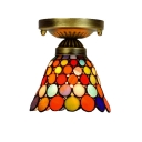 Small Colorful Circular Design Semi Flush Mount Ceiling Light with Tiffany Art Glass Conical/Dome Shade