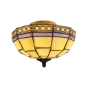 Inverted Tiffany-Style Flushmount Light with Flower/Diamond Pattern Glass Shade, Antique Brass Finish