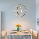 Home Accent Lighting Round Rotating Halo LED Chandelier Brushed Aluminum 2 Ring Concentric LED Pendant Light in Gold (Warm White)