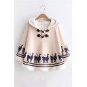 Button Front Camel Print Loose Hooded Cape