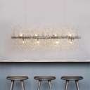 Crystal Beads Decoration LED Linear Chandelier Multi Light 27.56