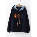 Fish Embroidered Drawstring Hood Long Sleeve Hoodie with Pocket