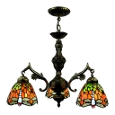 Three-light Country Style 20 Inch Wide Tiffany Chandelier with Dragonfly Pattern