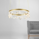 Personality Exclusive Post Modern LED Crystal Ring Chandelier 15.75/23.62 Inch Wide 1-Light Circular LED Chandeliers with Cubic Crystal Balls Decoration for Bedroom Foyer Living Room