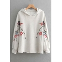 Drawstring Waist Floral Embroidered Long Sleeve Leisure Hoodie