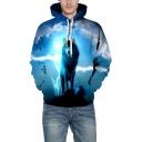 Casual Lightning Wolf Print Long Sleeve Hoodie