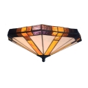 Geometric Tiffany Glass Shade Flush Mount Ceiling Light in Vintage Style with Colorful Glass, 15