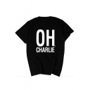 OH CHARLIE Letter Print Round Neck Short Sleeve T-Shirt