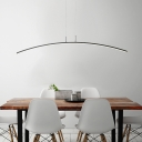 Art Deco Modern Black Hanging Light Led Ultra-thin Linear Pendants in Arched Shaped 24W Energy Saving Eye-Protecting Linear LED Chandelier