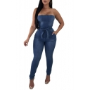 Sleeveless Plain Bow Tie Waist Skinny Bandeau Denim Jumpsuit