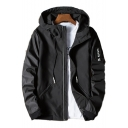 Cool Windproof Long Sleeve Zip Placket Hooded Jacket
