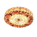 Circular Grid Natural Shell Tiffany Ceiling Light with Treasure Flower Pattern 20