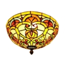 Baroque Style Tiffany Stained Glass Ceiling Light Fixture with Bowl Shade, Bronze Finish