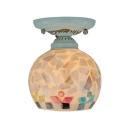 Handmade Shell Globe Shade Tiffany Semi Flush Ceiling Light with White Finish Canopy for Foyer