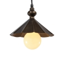 Single Round Bulb Retro Pendant Light with Conical Shade for Indoor Hallway