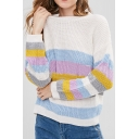 Color Block Round Neck Long Sleeve Casual Pullover Sweater