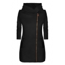 Long Sleeve Plain Offset Zip Closure Tunic Hooded Coat for Woman