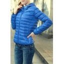 Plain Long Sleeve Zip Front Cropped Padded Jacket