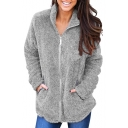 Stand Collar Long Sleeve Plain Faux Fur Zip Placket Jacket