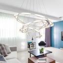 Dimmable LED White Pendant Llight 25/40/70W Multi Ring Aluminum Decorative Circular Ring Chandelier for Dining Room Living Room Restaurant