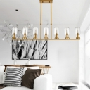 Luxury Antiqued Brass 7 Light LED Chandeliers 39.37 Inch Long Bottle Shaped LED Ceiling Pendant with Clear Glass Shade