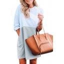 Color Block Round Neck 3/4 Length Sleeve Mini T-Shirt Dress