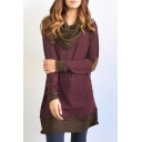 Color Block Collared Contrast Elbow Patch Long Sleeve Midi A-Line Dress
