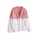 Stand Collar Color Block Long Sleeve Open Front Plush Jacket