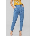 Vintage Belt High Waist Plain Tapered Jeans