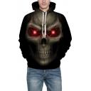 Drawstring Hood 3D Skull Pattern Unisex Oversized Hoodie