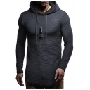 Drawstring Hood Long Sleeve Plain Asymmetric Hem Slim Hoodie for Men