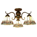 Baroque Style Pyramid Shade Multi Light Semi Flush Mount Light in Heritage Brass Finish