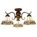 Baroque Style Pyramid Shade Multi Light Semi Flush Mount Light in Heritage Brass Finish